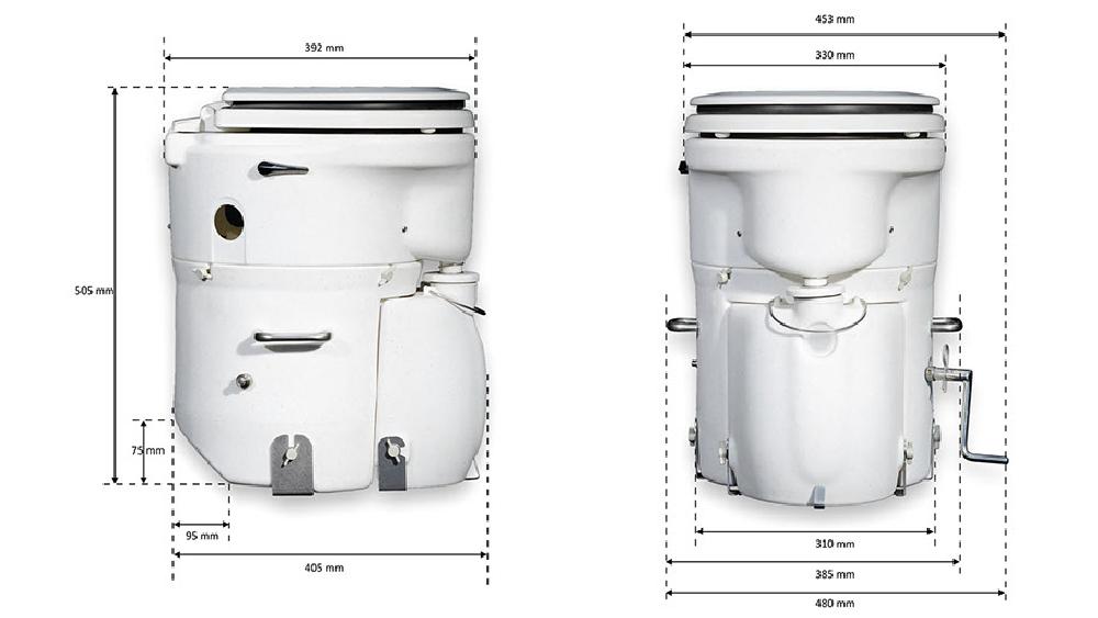 Maße Air Head Toilette Marine-Sitz