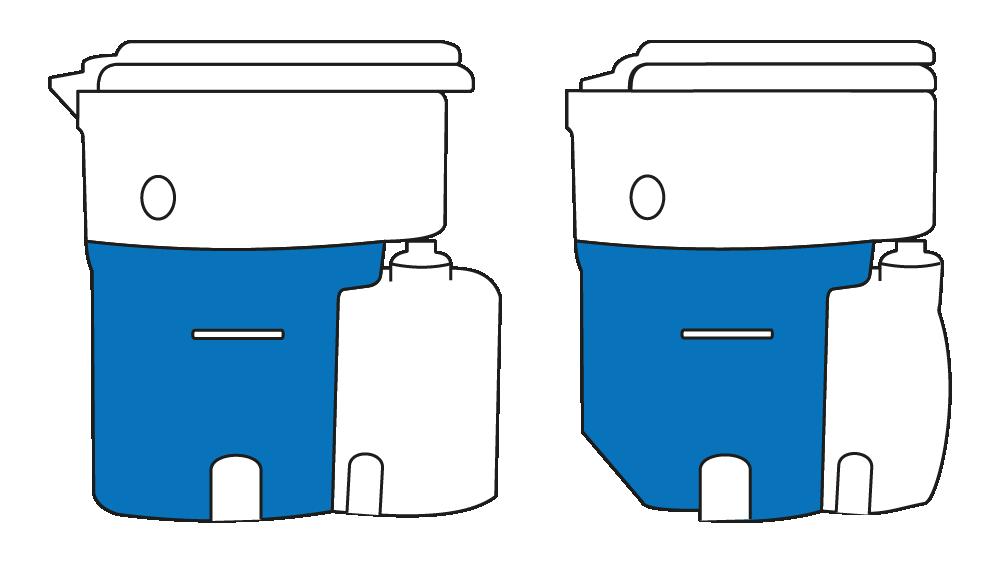 Vergleich Feststoffbehälter gerade und angeschrägt